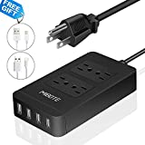 MIBOTE Power Strip with USB, Smart 4 Outlet Surge Protector Power Strip with 4 Port USB Charger 6ft Power Cord 2500W 100-240V for Travel, TV, Computer, Transformers, Power Bank (UL Listed)
