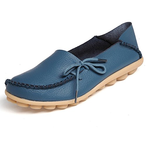 Eagsouni Womens Leather Lace-Up Casual Loafer Boat Shoes Driving Shoes Blue h9d3uxdaeg