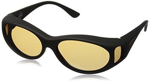 Cocoons Photochromic Fitover S Streamline Polarized Oval Sunglasses, Black/Amber, 56 mm (Streamline Polarized Sunglasses)