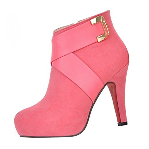 SODIAL(R) Ankle boots women fashion short boot winter footwear high heel shoes sexy snow warm size12 pink uwuu76
