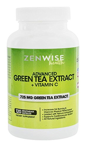 Zenwise Health Caffeine-Free Green Tea Extract with EGCG Vitamin C 120 Vegetarian Capsules For Sale