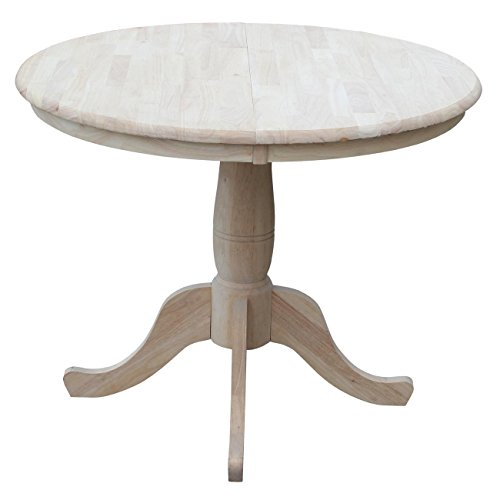 International Concepts 36-Inch Round Extension Dining Table with 12-Inch Leaf, - Oval Table Unfinished