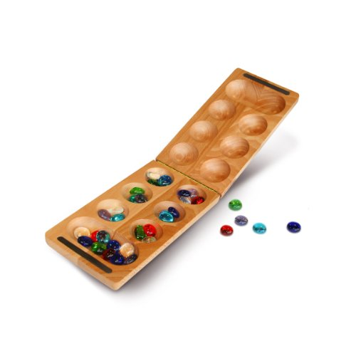 WE Games Foldable Solid Wood Mancala Board & Glass Stones - 18 in.