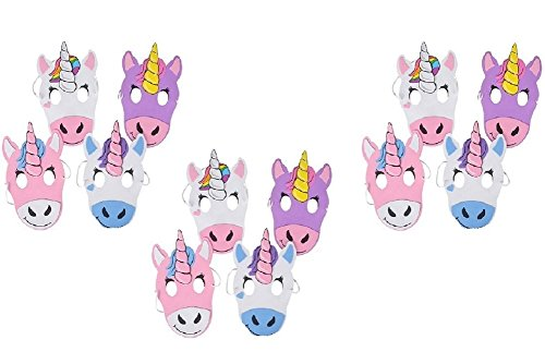 Novelty Treasures Unicorn Masks - 12 Pack - CUTE Halloween and Birthday Party Mask