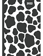 Cow Print Planner 2022: Weekly + Monthly Calendar Datebook, Moon Phases, Holidays, Contacts, Passwords, Journal Paper, Great Gift for Animal Lovers