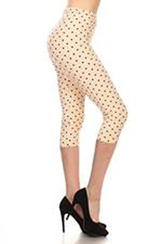 (R986-CA-PLUS Polka Dot Sugar Capri Print Leggings)