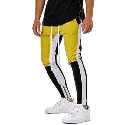 Vintage Color Block Patchwork SweatAutumn Men's Hip Hop Bandage Casual Elastic Waist Joggers Pants Streetwear Color 1 L ()