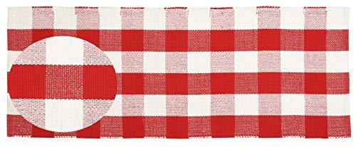 Buffalo Check Cotton Runner 24x60 - Buffalo Checkered Throw Rug 100% Cotton for Kitchen Entryway Living Room - Red-White