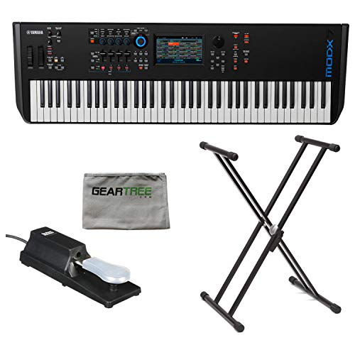 Yamaha MODX7 76-Key Semi-Weighted Synthesizer Keyboard w/Sustain Pedal, Cleanin