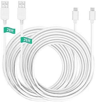 BERLS - Cable de extensión micro USB blanco blanco 26ft USB Cable(2 pack): Amazon.es: Electrónica
