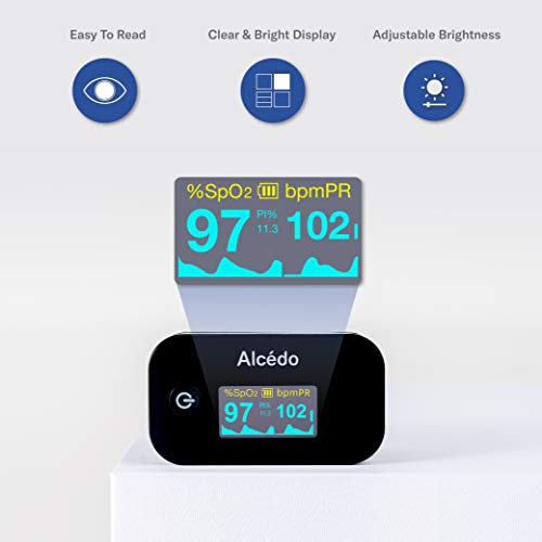 Alcedo Pulse Oximeter Fingertip | Blood Oxygen Saturation Level (SpO2) and Heart Rate Monitor | Dual Color OLED Display | Portable Carry Case, Lanyard, Batteries