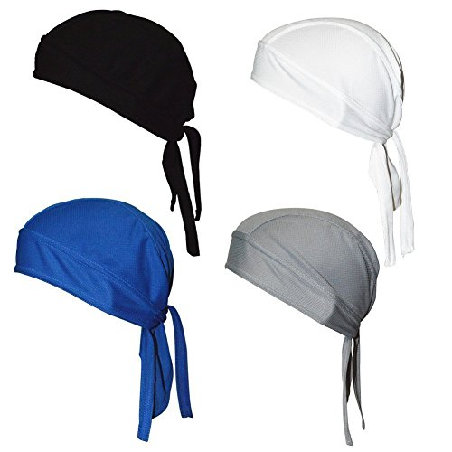 Sweat Wicking Beanie Cap Adjustable Hat Chemo Cap Skull Cap Head Wrap For Men and Women Fits under Helmets and Baseball Cap Pack of 4,Dark,White,Gray,Navy Blue,One Size ()