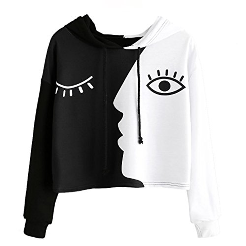 AmyDong Ladies Hooded Sweatshirt Long Sleeve Crop Patchwork Blouse Pullover TopsBlack and White Mosaic face Long-Sleeved Sweater Shirt (Black, 2XL)