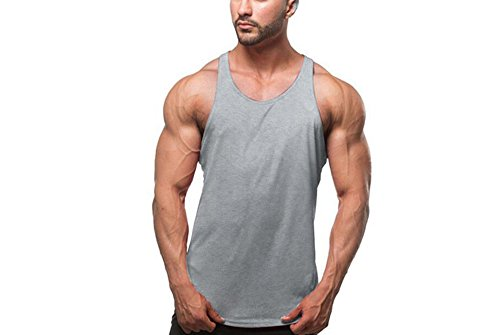 Homme Feicuan Fitness Grey Y Musculation Top Manches Sous Gym Workout vêtements back Bodybuilding Casual Sports Sans Débardeur Tank dqTr64x1qw
