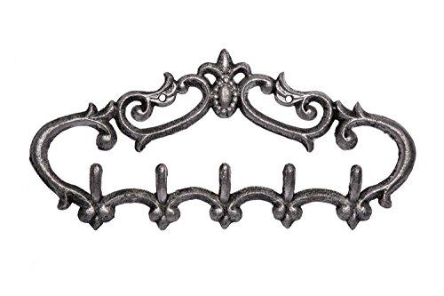 Comfify Cast Iron Wall Hanger - Vintage Design with 5 Hooks - Keys, Towels, etc - Wall Mounted, Metal, Heavy Duty, Rustic, Vintage, Decorative Gift Idea - 12.9X 6.1