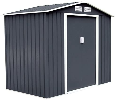 Goplus Outdoor Storage Shed Sliding Door Garden Tool House 9 X 6 Gray