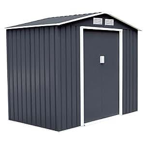 7' X 4' Outdoor Garden Storage Shed Tool House Sliding Door Steel Dark Gray