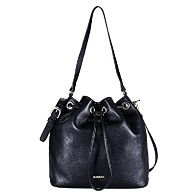 Banuce Women's Leather Drawstring Bucket Shoulder Bag Color Black ...