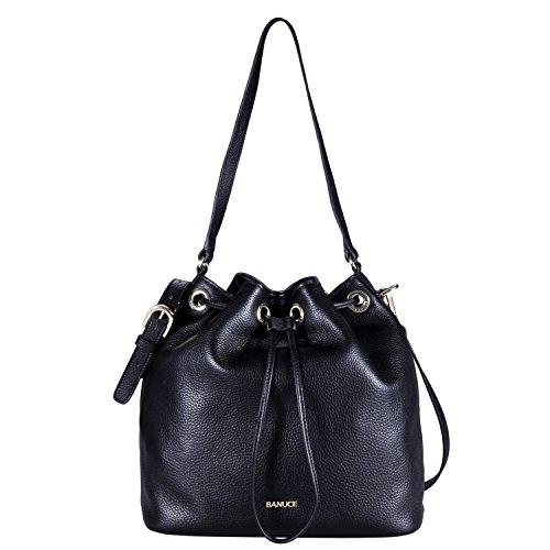 Banuce Black Real Leather Handbag for Women Shoulder Messenger Bag Crossbody Ladies Drawstring Bucket Satchel Purse