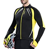 Santic Mens Cycling Jackets Winter Inner Fleece Windproof Long Sleeve Thermal Bicycle Jacket Breathable Reflective Coat