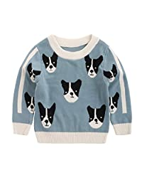 Srogem Baby Toddler Girls Pullover Sweaters Cute Embroidered Dogs Warm Tops