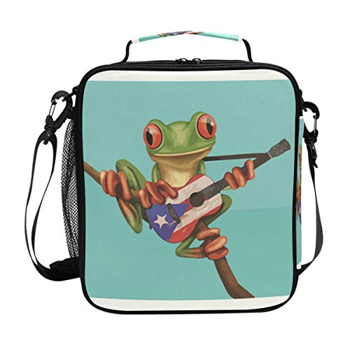 Frog Playing Guitar Lunch Bag with Zip Closure Insulated Lunch Box Tote Bag For ()
