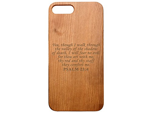 (NDZ Performance Custom Wooden Phone Case for Apple iPhone 7 & iPhone 8 Plus Cherrywood Engraved: Bible Psalm 23:4)