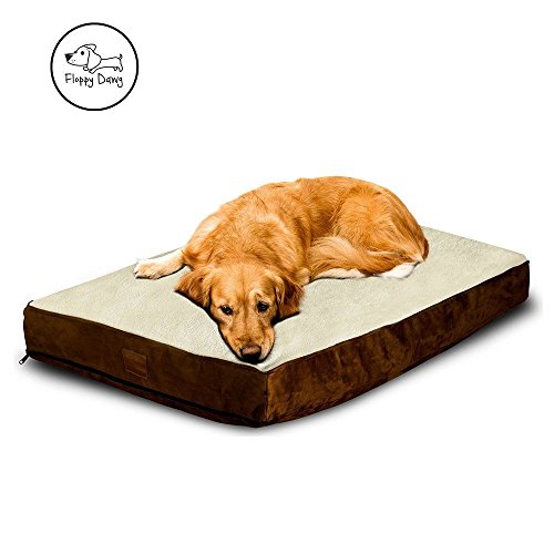 Floppy Dawg Large Dog Bed with Removable Cover and Waterproof Liner | Perfectly Stuffed To 4 Inches High with Memory Foam Pieces To Accommodate the Natural Digging Instinct | For Dogs 40 To 90 Pounds