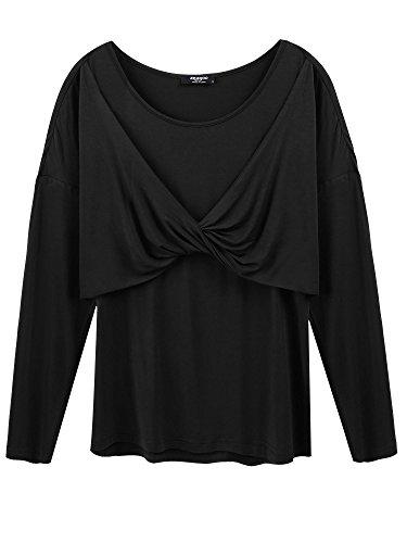 Zeagoo Women's Cross-Front Scoop Neck Ruched Cap Sleeve Blouse(Black-L)