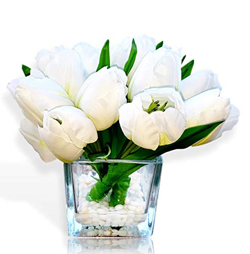 Basik Nature Artificial Tulip Floral Arrangement in Glass Vase - Tulips Artificial Silk Flowers for Decoration (White) ()