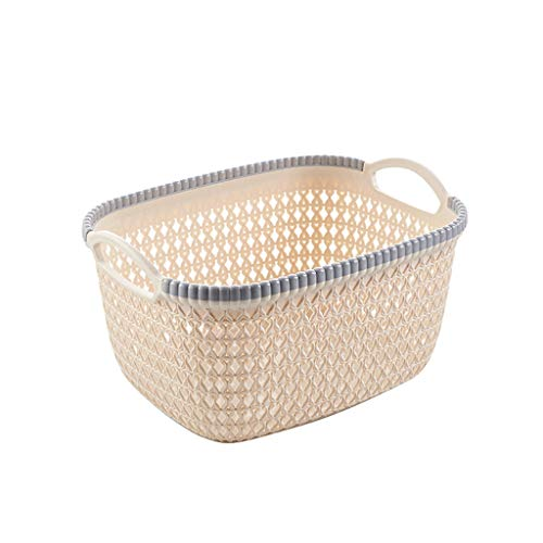 Onegirl Woven Storage Basket for Toy Book Clothes Storage,26cm x 20cm x 14cm,Office Plastic Storage Basket Desktop Finishing Box Cosmetics Debris Case For Bags, Kitchenr,Laundry,Office (Beige)