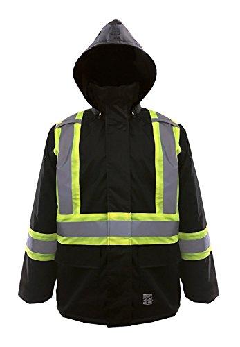 Viking Open Road 150D Hi-Vis Waterproof Rain Jacket, Black,  XL, 6323JB