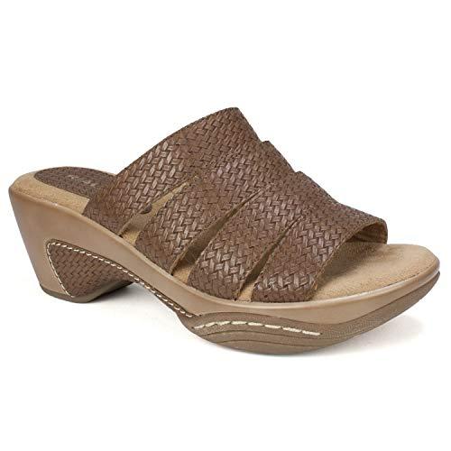 (RIALTO Shoes Valora Women's Sandal, Brown/Woven, 6 M)