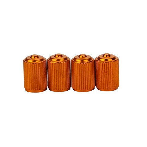 (Gotd 4pcs Bike Aluminum alloy Truck wheel Tire Valve Stem Caps (Orange))