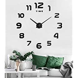 SIEMOO Large DIY Wall Clock, 3D Mirror Number Stickers Large Wall Clock Kit Mute Frameless Modern Design for Home Living Room Bedroom Office Decoration-Black