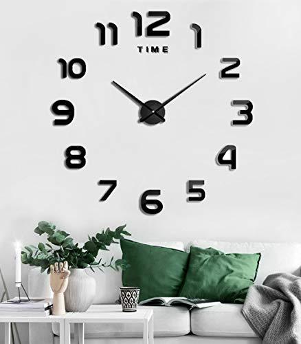 SIEMOO Large DIYWallClock,3D Mirror Number Stickers Large Wall Clock Kit Mute Frameless Modern DesignforHomeLivingRoomBedroomOfficeDecoration-Black