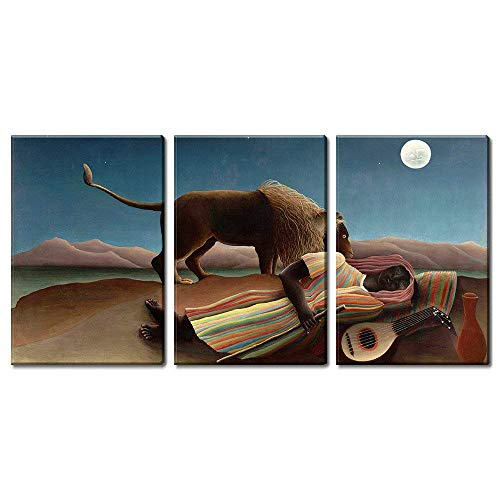 - wall26 3 Panel World Famous Painting Reproduction on Canvas Wall Art - The Sleeping Gypsy by Henri Rousseau - Modern Home Decor Ready to Hang - 24