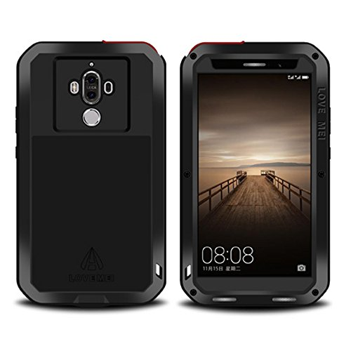 Armor Metal Hybrid (Huawei Mate 9 Pro case,Feitenn Extreme Hybrid Armor case Alloy Aluminum Metal Bumper Gorilla Glass Soft Rubber Military Heavy Duty Shockproof Hard Water resistant Case For Huawei Mate 9 Pro (Black))