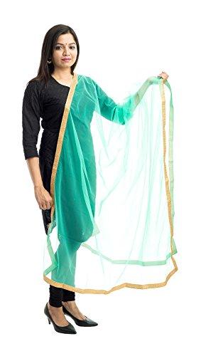 Lodestone Women's Net With Lace Work Dupatta (Pista Green)