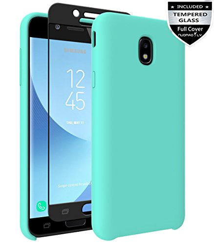 18 Case,Galaxy J7 V 2nd Gen/J7 Refine/J7 Top/J7 Star/J7 Aero/J7 Crown/J7 Aura/J7 Eon Case with [Tempered Glass Screen Protector] Nuomaofly Liquid Silicone Gel Rubber Case (Mint) ()