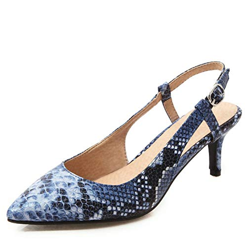 - DecoStain Women's Sexy Snake Print Kitten Heel Pumps Plus Size Slingback Party Office Dress Shoes Blue