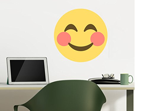 Smiling Face Emoji Large Wall Decals - 12 in x 12 in
