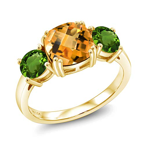 Gem Stone King 4.15 Ct Cushion Checkerboard Yellow Citrine Green Chrome Diopside 18K Yellow Gold Plated Silver Ring (Size ()