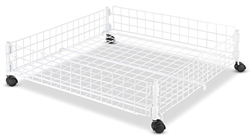 Whitmor Rolling White Wire Underbed Cart - Large Underbed Storage