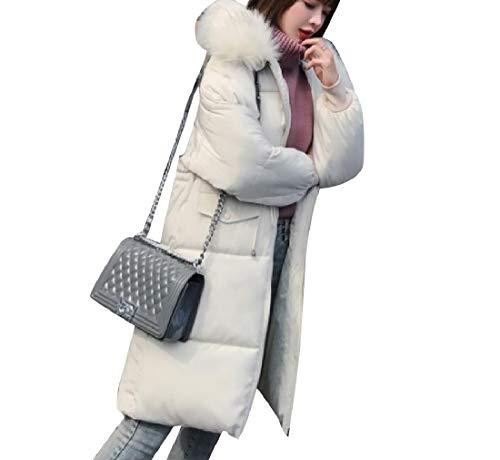 Collar Womens Down RkBaoye Warm Off with Brumal Fur Jacket Hood Coat Long Mid White tqtafUw