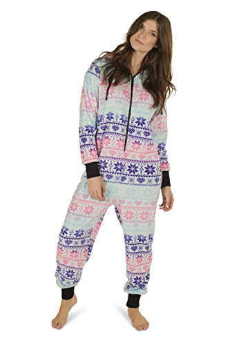 Totally Pink Women's Plush Warm Cozy Character Adult Onesie/Pajamas / Onesie (Medium, Fair Isle)