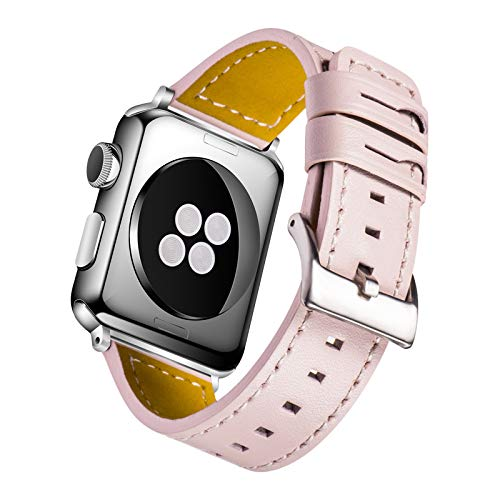 Daylight Compatible with Apple Watch Band 42mm 38mm,Women Genuine Leather Replacement Strap Bands for iWatch Apple Watch Series 3/2/1 (Light Pink 38mm)