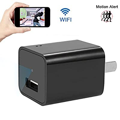 UYIKOO Wifi Spy Hidden Charger Camera Mini AC Power Adapter USB Charger Camera Nanny Cam Covert Came Home Surveillance and Security Camera from UYIKOO