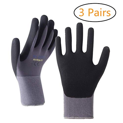 - DEX SAFETY Nylon Work Gloves with Spandex Liner and Nitrile Coated, Micro Foam Technology Safety Working Gloves, CE Approved, 3 Pairs (L)