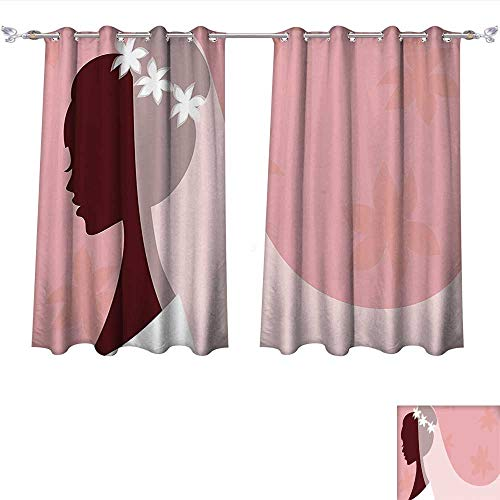 (Qinqin-Home Window Curtain Fabric Bridal Shower ations Bride in Wedding Dress on Pink Backdrop with Veil Image Light Pink and White Drapes for Living Room (W72 x L84 -Inch 2 Panels))